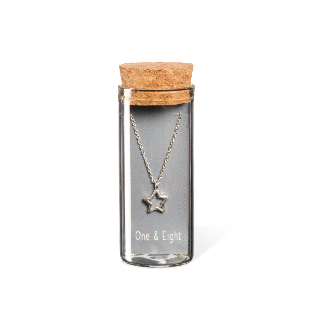 Sterling silver star necklace in gift bottle packaging
