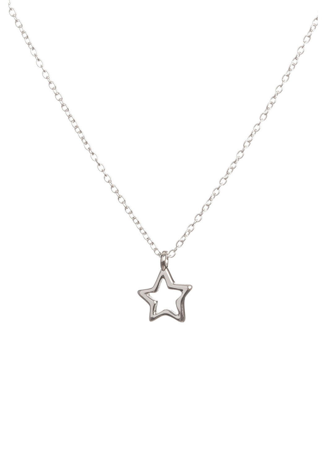 Silver Open Star Necklace