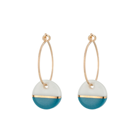 Porcelain Teal Dipped Gold Hoop Earrings