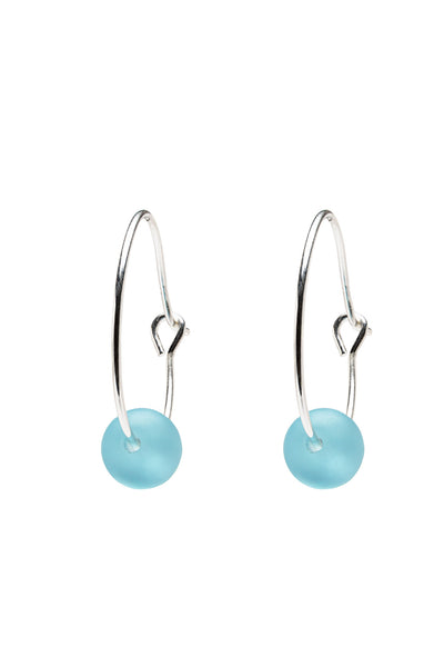 Aqua Seaglass Hoops