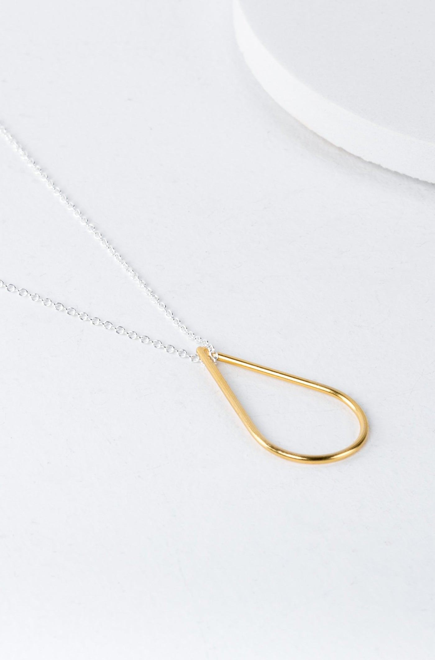 Silver and Gold Teardrop Necklace