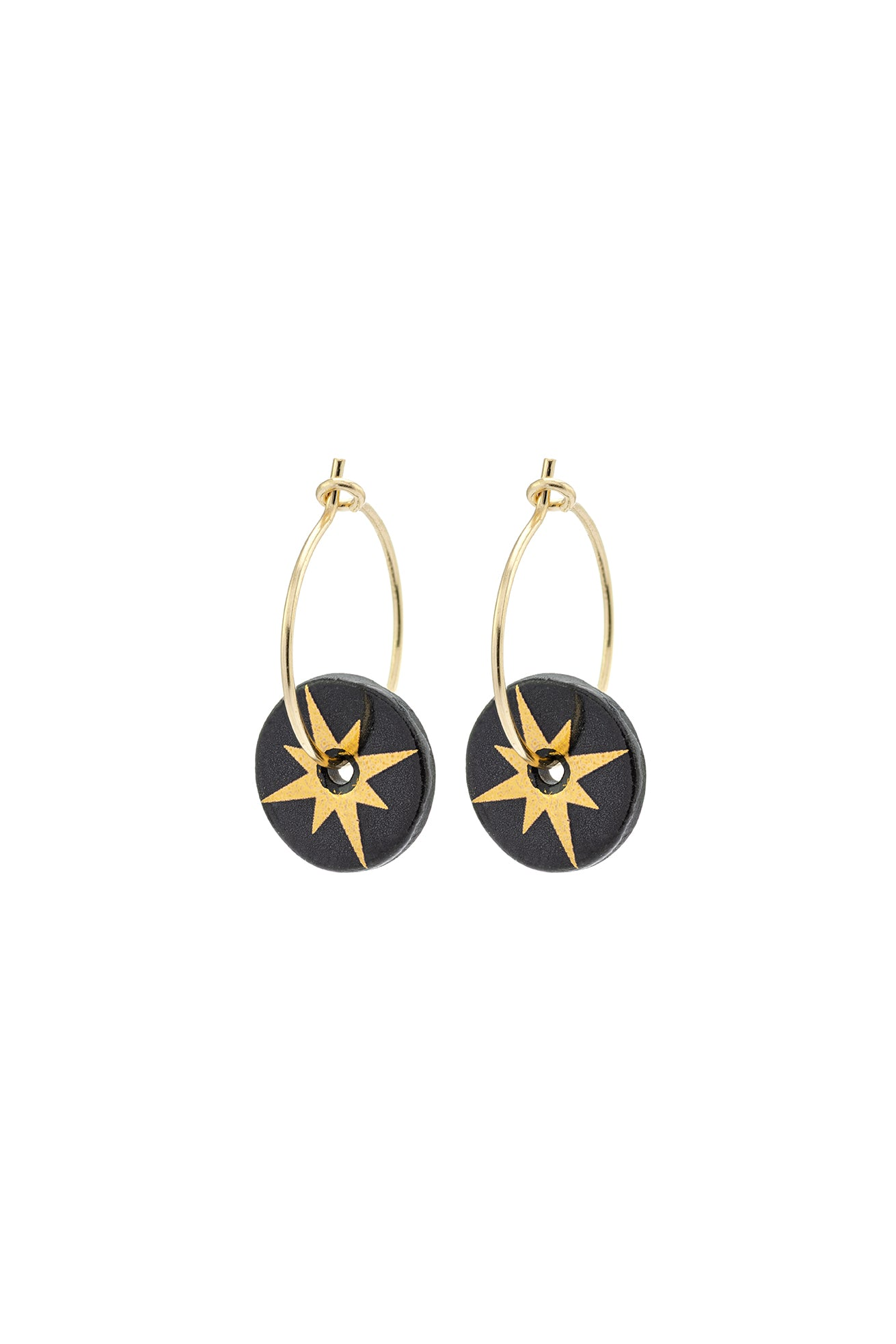Porcelain Black Star Gold Hoop Earrings