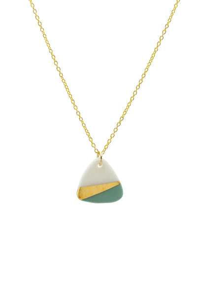 Porcelain Sage Ray Gold Necklace