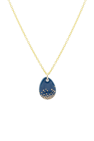 Porcelain Dartmouth Blue Raindrop Gold Necklace