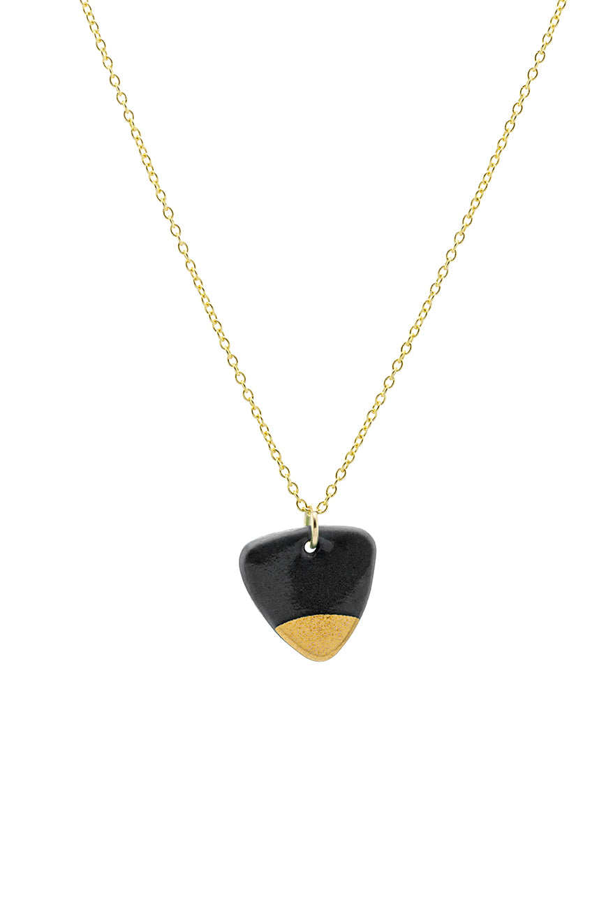 Porcelain Black Arrow Gold Necklace