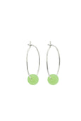 Seafoam Green Seaglass Silver Hoop Earrings
