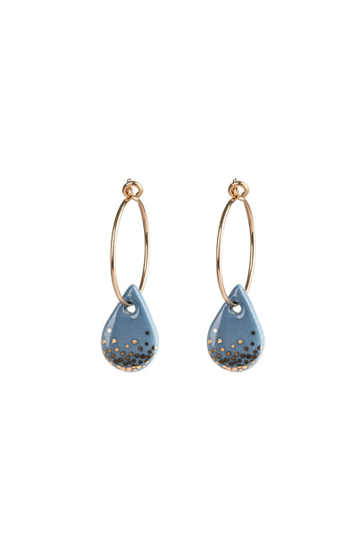 Porcelain Steel Raindrop Gold Earrings