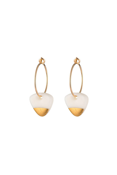 Porcelain White Arrow Gold Dipped Earrings