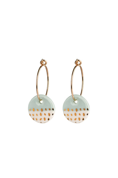 Porcelain Mint Paloma Gold Earrings