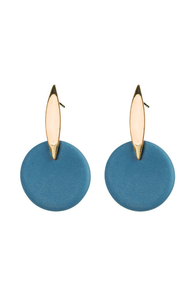 Porcelain Teal Sunset Gold Earrings