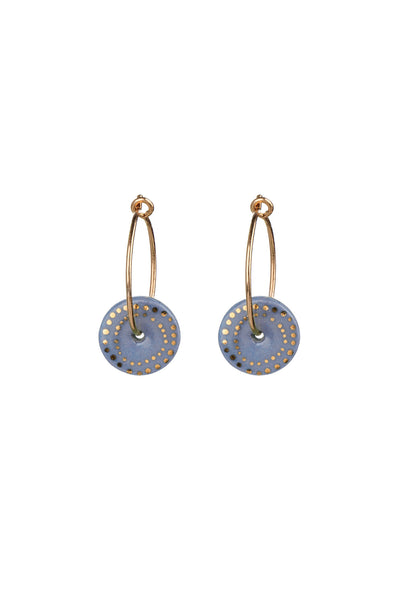 Porcelain Blue Dots Gold Earrings