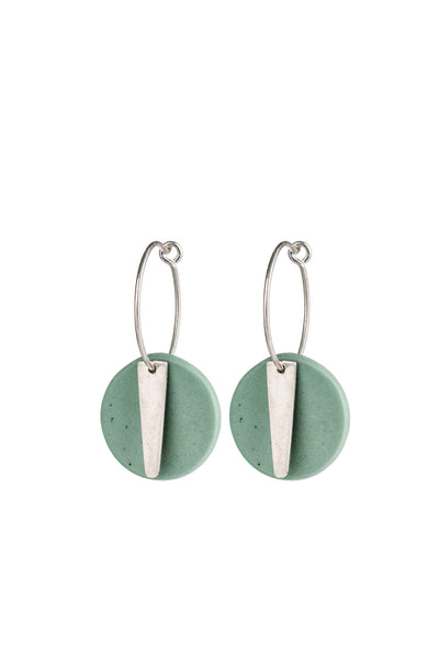 Porcelain Sage Cosmo Silver Hoop Earrings