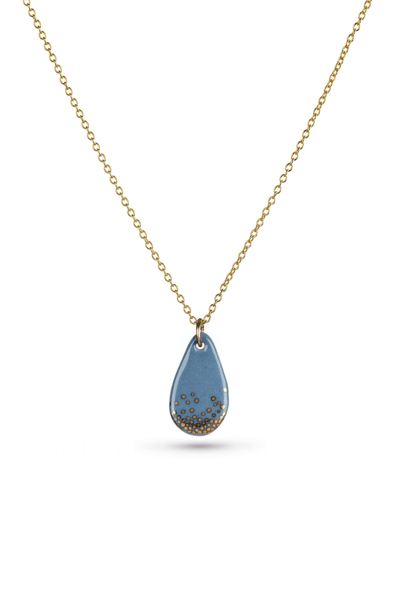 Porcelain Steel Raindrop Gold Necklace