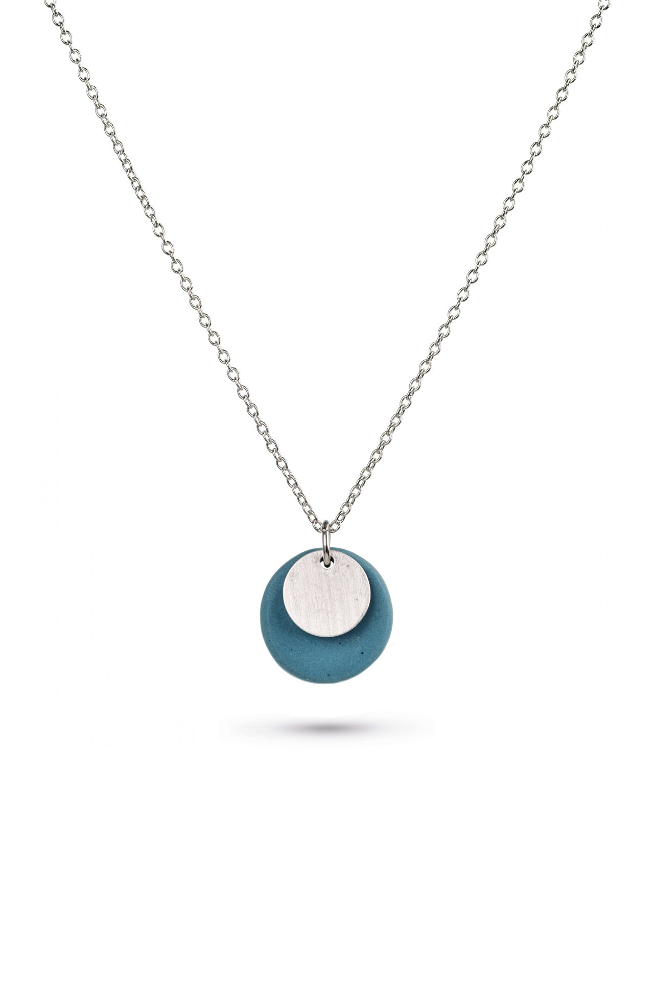 Porcelain Teal Double Disc Silver Necklace