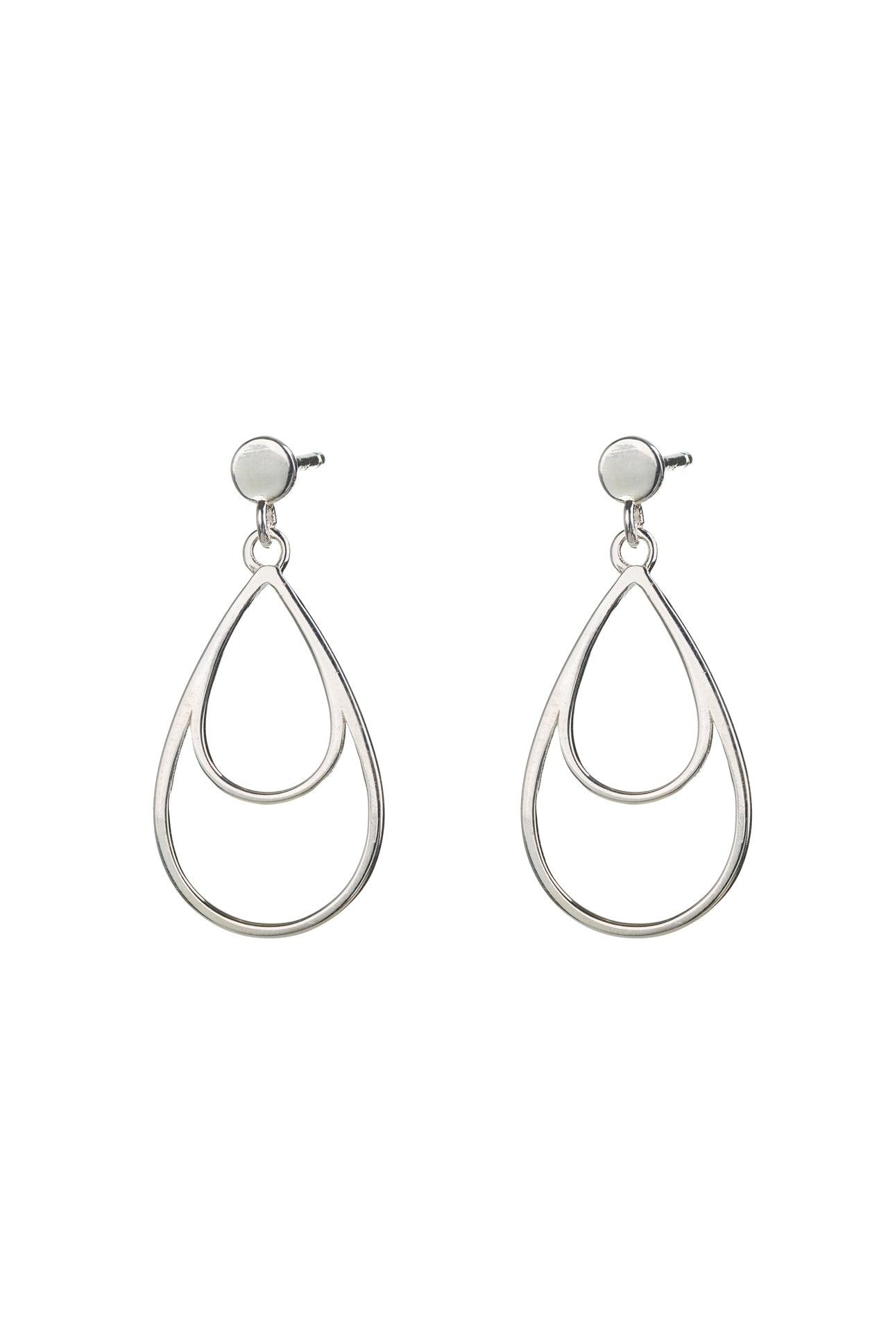 Silver Double Teardrop Drop Studs