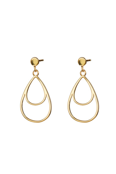 Gold Double Teardrop Studs