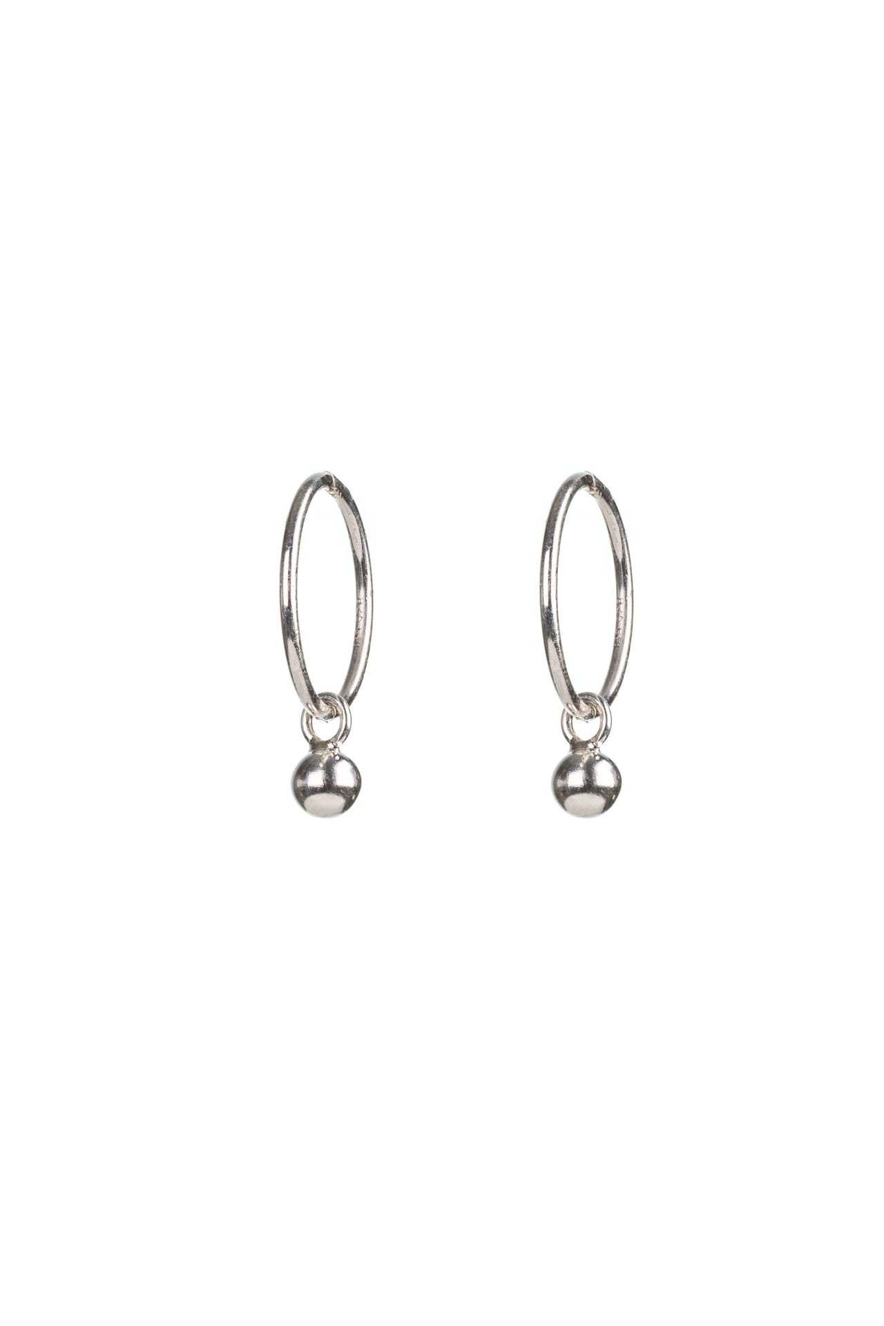 Silver Ball Hinged Hoops