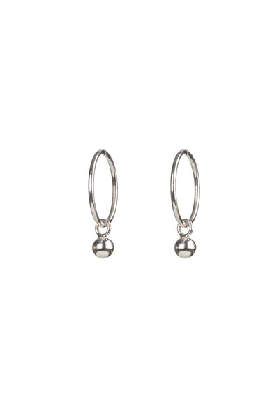 Silver Ball Hinged Hoop Earrings