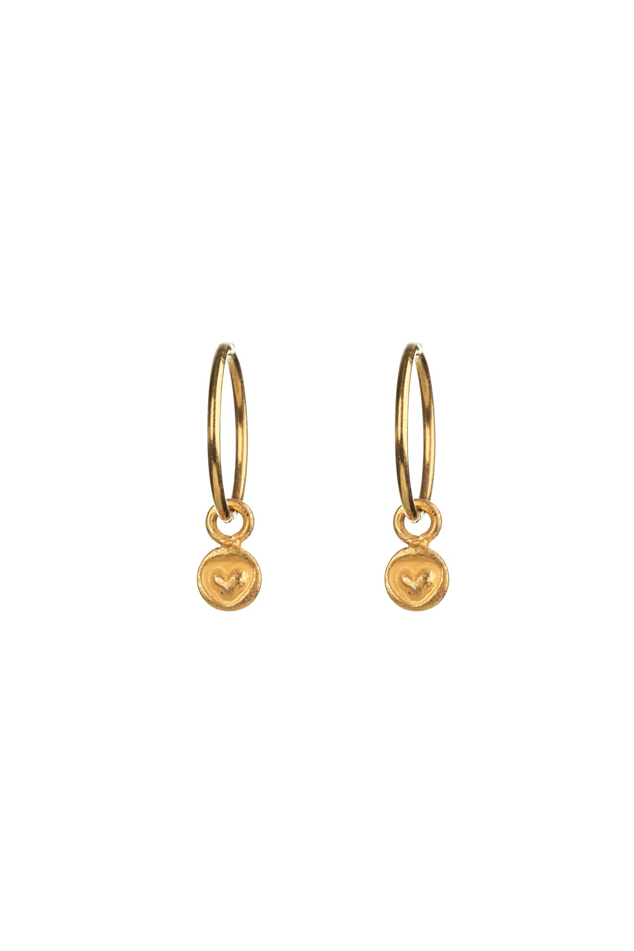 Gold Heart Hinged Hoop Earrings