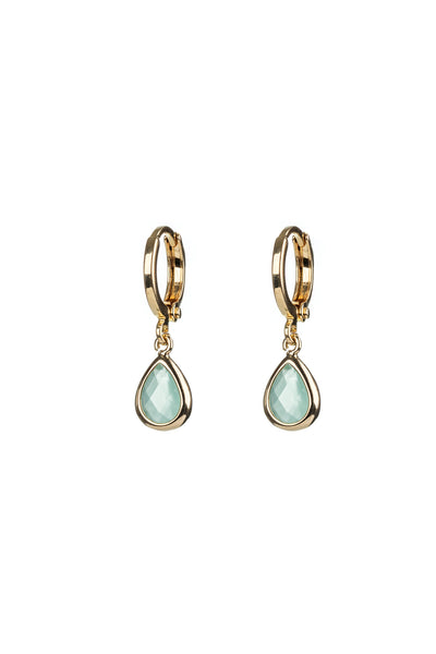 Aqua Glass Charm Gold Huggie Hoops