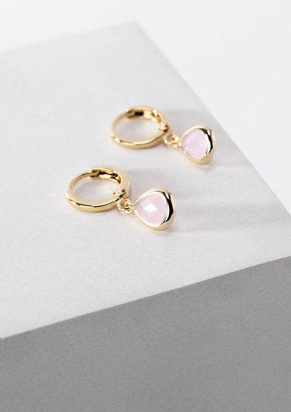 Pink Glass Charm Gold Huggie Hoops