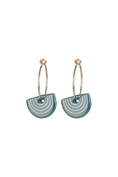Porcelain Teal Agatha Gold Hoop Earrings