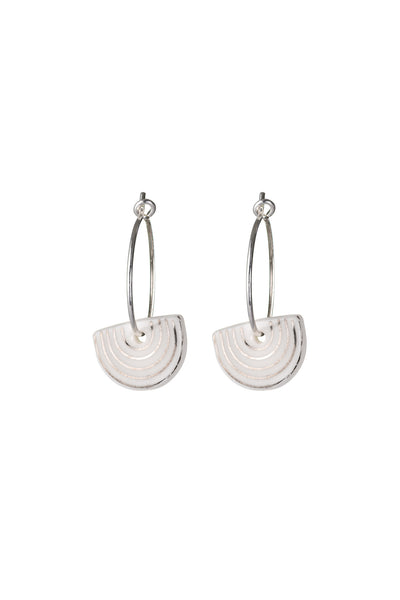 Porcelain White Agatha Silver Earrings
