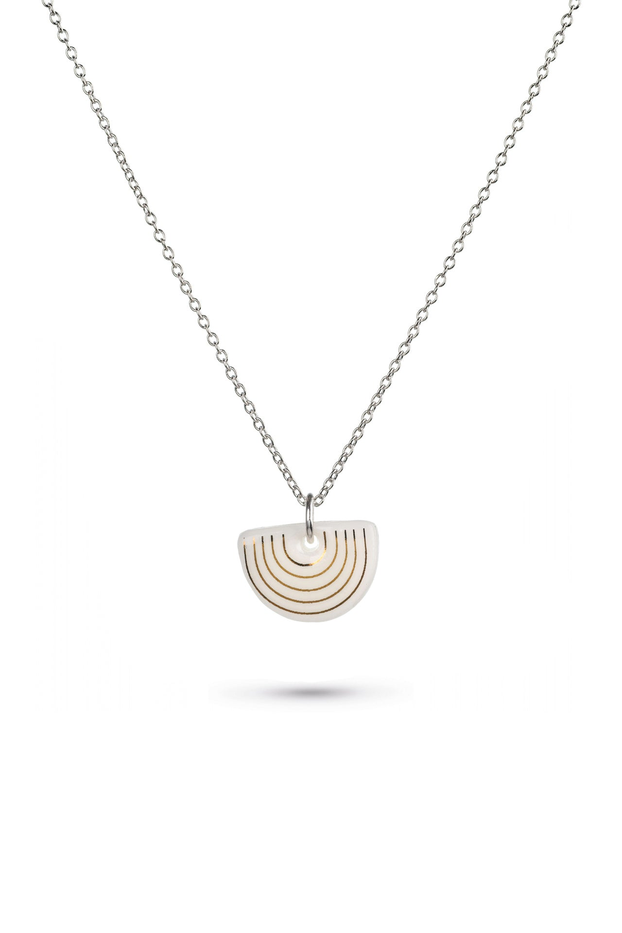Porcelain White Agatha Silver Necklace