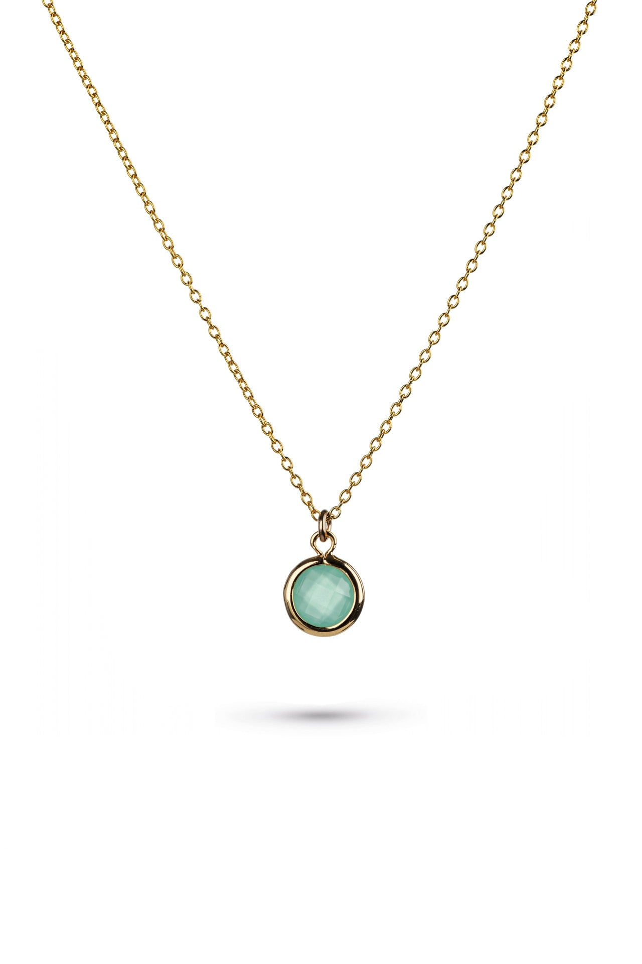 Aqua Glass Charm Gold Necklace