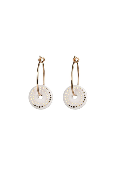 Porcelain White Dots Gold Earrings