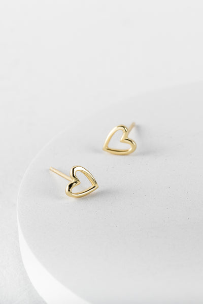Gold Open Heart Studs