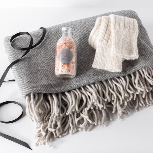 Slate Grey Recycled Wool Blanket, Alpaca Socks & Himalayan Bath Salts Gift Set