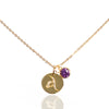 Initial Disc with Alexandrite (June) Birthstone