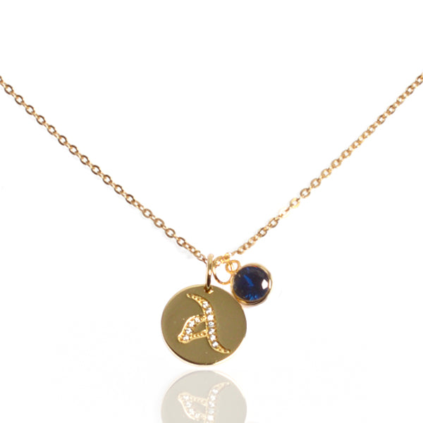 Initial Disc with Sapphire (September) Birthstone