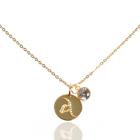 Initial Disc with White Diamond (April) Birthstone