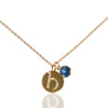 Initial Disc with Aqua Marine (March) Birthstone