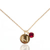 Initial Disc with Garnet (January) Birthstone