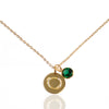 Initial Disc with Emerald (May) Birthstone