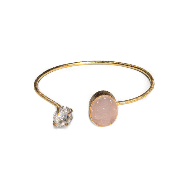 Theia Herkimer & Rose Quartz Bracelet