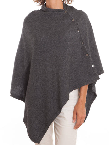 Poncho With Buttons Cashmere Blend | Dalle Piane Cashmere