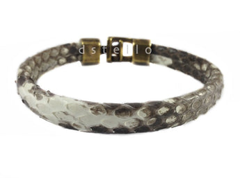 Authentic snake skin bracelet - Genuine custom made python snakeskin bracelet with hammered clasp