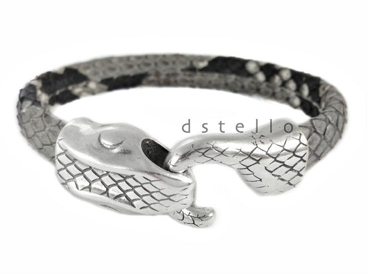 Ouroboros bracelet, Genuine snakeskin, Gift for him