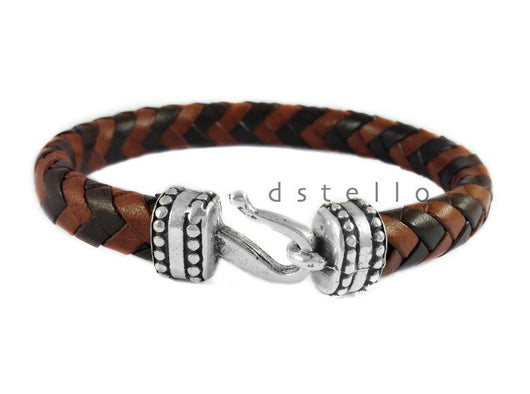Men's braided leather bracelet with antique silver hook clasp - Masculine handmade jewelry