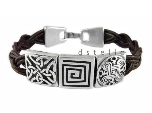 Men's celtic bracelet, Hand braided, Leather jewelry, Custom made - dstello - 1