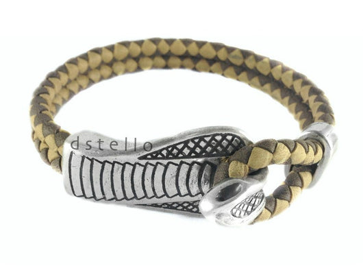 Men's leather bracelet, Custom made cobra bracelet, Men's jewelry - dstello - 1
