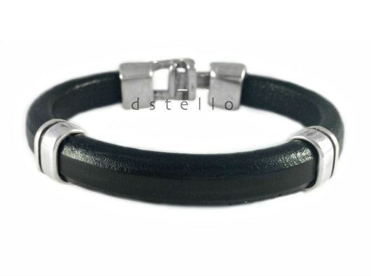 Mens leather bracelet Hammered clasp Custom made jewelry dstello
