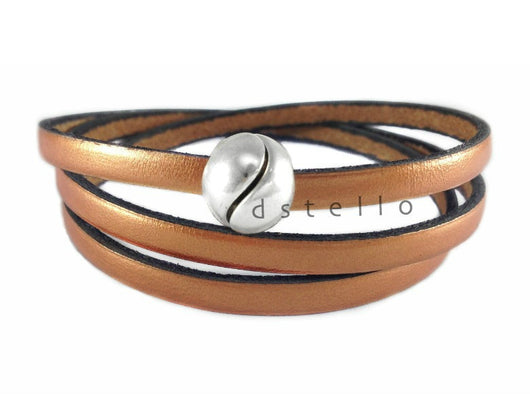 Triple bracelet Mens leather jewelry Wrap around wrist Custom