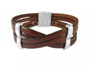 Men's wrap leather cuff - Multi stranded bracelet for men - Gift for him