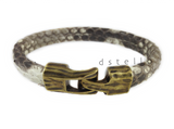 real snake skin bracelet with hammered gold clasp - genuine python mens bracelet
