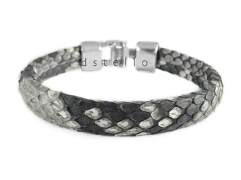 Genuine snakeskin bracelet, Real python skin, Men's bracelet, Hammered clasp - dstello - 1